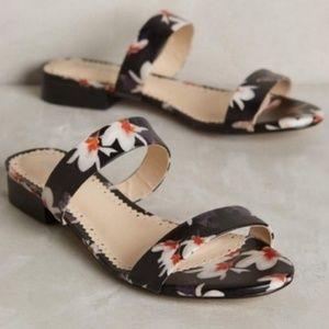 Anthro Farylrobin Double Strap Floral Slide Sandal